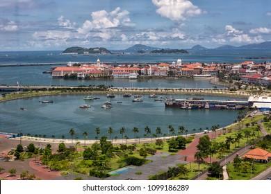 Panama's Casco Viejo under blue sky