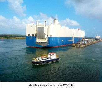 Panamax (largest a ship can be and still pass through the original locks) Car container ship about to travel through the Panama Canal locks