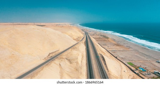Panamericana road with Pacific ocean, aerial view panamericana in Cañete, Perú.