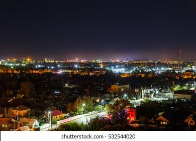 Panarama night Karaganda. Kazakhstan