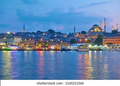 Panarama of the Old town of Istanbul - Fatih district with The Suleymaniye Mosque in the evening, Turkey