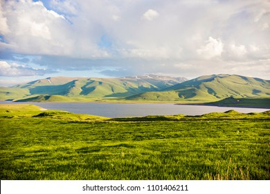Panarama Of Spandaryan Reservoir In Syunik Region of Armenia. Beautiful lake and mountains landscape in Syunik province, Armenia