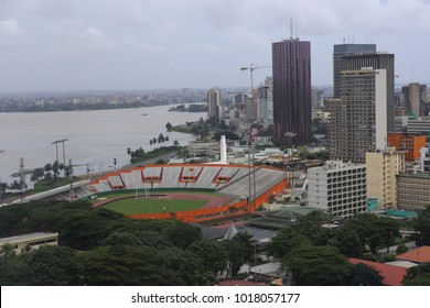Panaramic view from above of abidjan city in ivory coast. Picture taken from CCIA building. Stadium, tall skyscrapers and other buildings can be seen near the laguna. Taken on  17th september 2017.