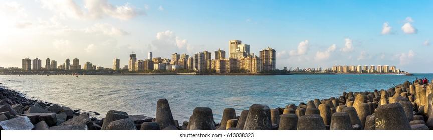 Panaroma Of Marine Drive Mumbai
