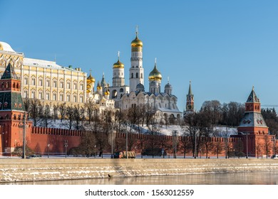 Panaromic view of kremlin in winter time. Moscow- Russia