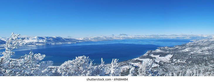 Panaromic View of Lake Tahoe in Winter, California