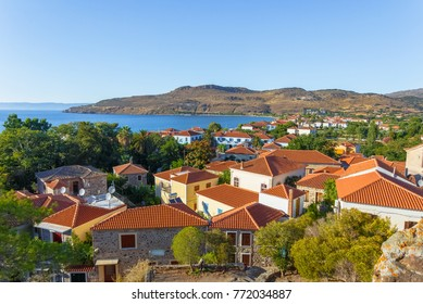 Panaromic view of Petra village against a clear blue sky in Lesvos Island, Mythimna, Greece