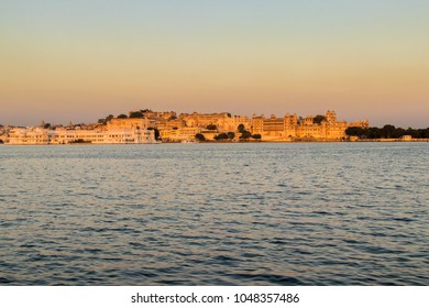 Panaromic view of the Udaipur City Palace at Dusk