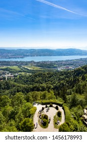 Panaromic view of Zurich city and lake from Uetliberg viewpoint in Switzerland