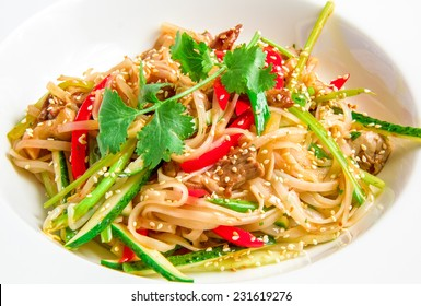 Pan-Asian rice noodles with beef, vegetables, bean sprouts in a sweet and sour sauce on white plate