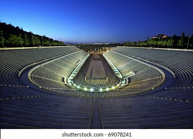 "The Panathenaic Stadium (""Kalimarmaro"") in the ""blue"" hour. Athens, Greece."