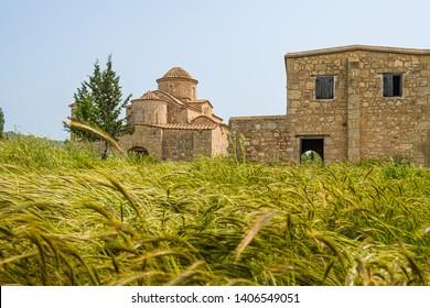 Panayia Kanakaria 6th century Byzantine Monastery Church originally containing Kanakaria mosaics in Lythrangomi, Island of Cyprus behind barley hops