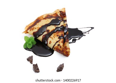 pancake with chocolate, crepe isolated