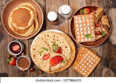 pancake, crepe and waffles