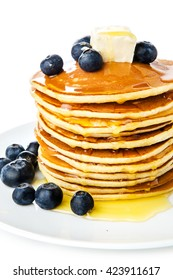 Pancake. Crepes With Berries, and Syrup isolated on a White Background