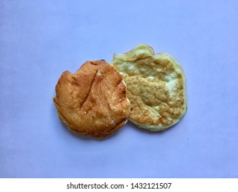 Pancake isolate on the blue background. Bekery concept. Top view.