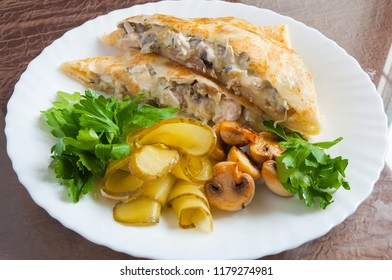 pancake with julienne and pickles with greens
