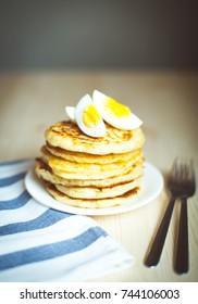 pancake made of corn flour with egg
