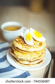 pancake made of corn flour with egg. Pancakes. Breakfast. Breakfast foods.