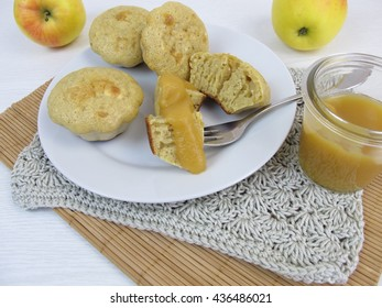 Pancake from muffin pan with apple sauce