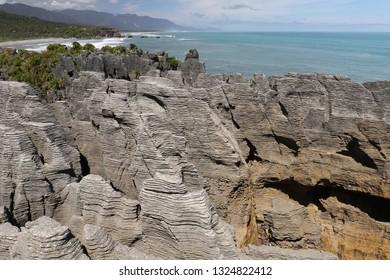 Pancake Rocks on southern island of New Zealand