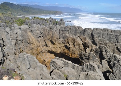 Pancake rocks in Punakaiki on the West coast of New Zealand