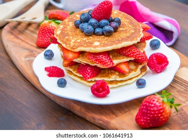 pancake with strawberry,blueberry and raspberry