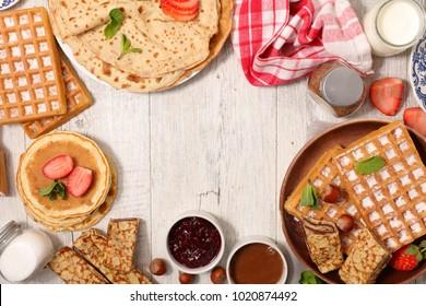 pancake, waffle and crepe