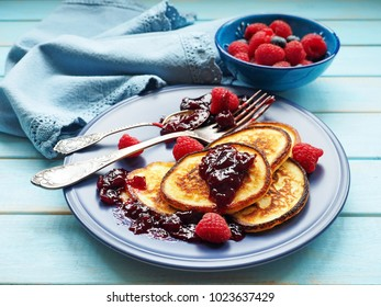 Pancakes with berries. Pancakes traditional food for Shrove Tuesday.