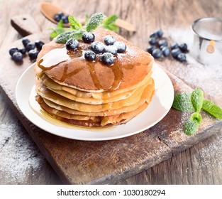 Pancakes with blueberries for breakfast