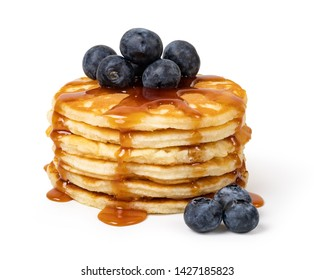 Pancakes with blueberries and syrup Isolated on white background
