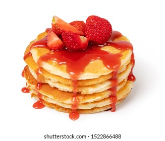 Pancakes with fresh strawberries and syrup Isolated on white background