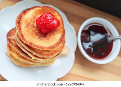 Pancakes with jam for breakfast