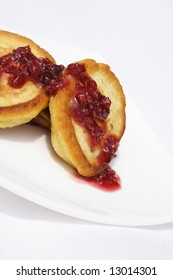 pancakes with jam on plate