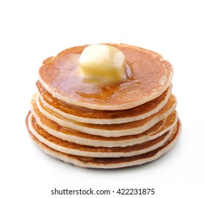 Pancakes on white background.