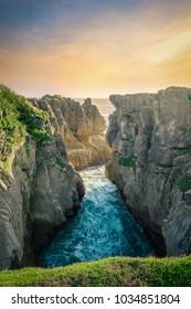 Pancakes Rocks and Blowholes - Punakaiki, West Coast, New Zealand