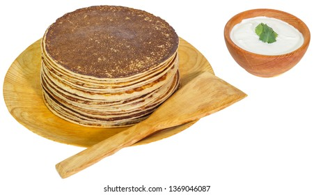 Pancakes with sour cream with transparent background