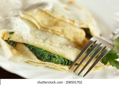 Pancakes with spinach
