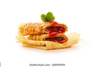 Pancakes with strawberry jam.
