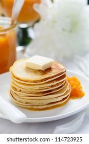 Pancakes with tangerine jam for breakfast