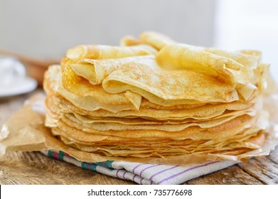 Pancakes. Thin pancakes. Russian bliny.