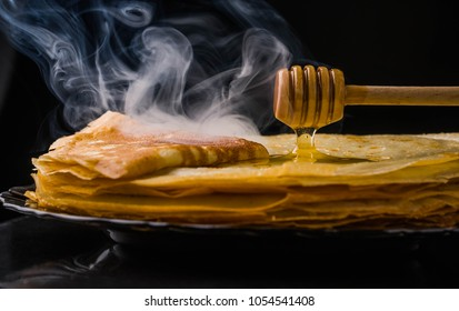 Pancakes. Thin pancakes. Russian bliny. maslenitsa, blini, breakfast, crepe, honey pastry stack pancake russian background caviar closeup food fresh