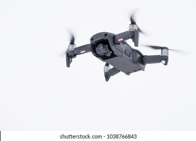 Pancevo - Serbia 03.01.2018. DJI Mavic Air drone flying mid air isolated on white bacground. Smallest foldable drone  with 4K capability.