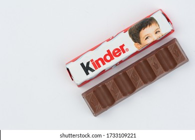 Pancevo,Serbia-may 16. 2020:Kinder chocolate isolated on white background.Copy space