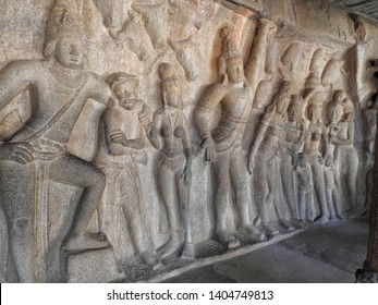 Panch Rathas Monolithic Hindu Temple in Mahabalipuram. Great South Indian architecture. Famous Tamil Nadu landmark - Shore temple, world heritage site in Mahabalipuram. Angkor complex, one of famous.