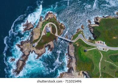 The Pancha island lighthouse, Galicia (Spain).