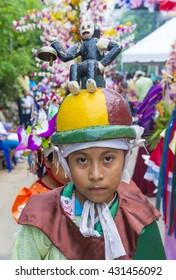 PANCHIMALCO , EL SALVADOR - MAY 08 : Salvadoran boy participate in the procession of the Flower & Palm Festival in Panchimalco, El Salvador on May 08 2016