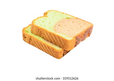 Pandan chocolate bread on white background