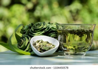 Pandan leaves, Fragrant pandan, Panda wangi, green leaves have property medicine.  (Dried leaves are brewed to drink healthy tea)
