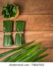 Pandan and pandan leaves in a wooden cup prepared for pandan juice or pandan cake to boil or dried Before going to cooking.Shot in the studio.top view